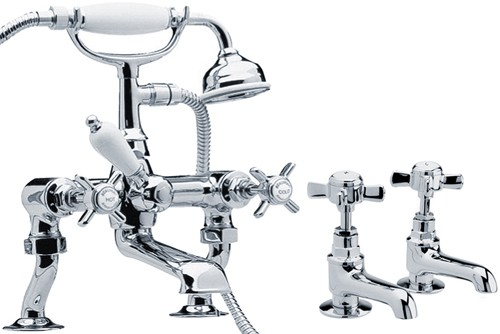 "Additional image for Basin Taps & 3/4"" Bath Shower Mixer Tap Set (Chrome)."