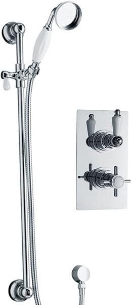 Additional image for Twin thermostatic shower valve with slide rail kit (Chrome)