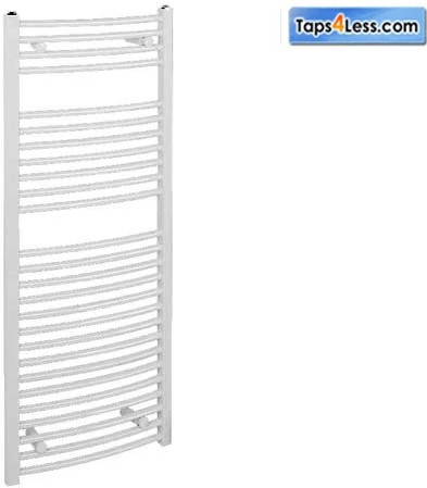 Additional image for Diva Curved Towel Radiator (White). 1200x600mm.