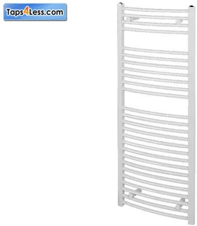 Additional image for Diva Curved Towel Radiator (White). 800x500mm.