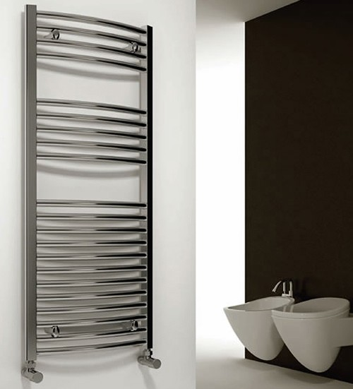 Additional image for Diva Curved Towel Radiator (Chrome). 800x600mm.