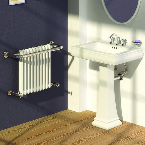 Additional image for Camden Traditional Towel Radiator (Chrome). 625x493mm.