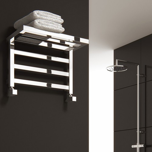 Additional image for Elvina Shelf Towel Radiator (Chrome). 350x500mm.
