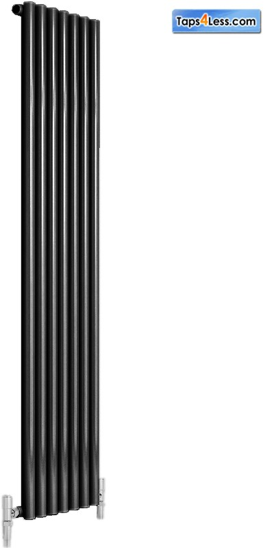 Additional image for Round Single Vertical Radiator (Black). 413x1800mm.