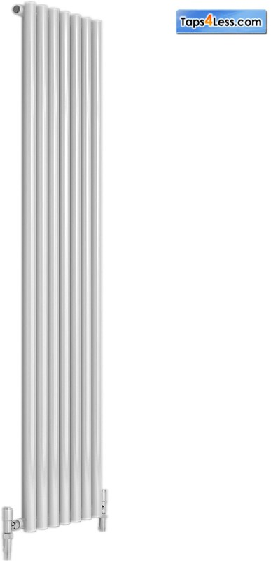 Additional image for Round Single Vertical Radiator (White). 413x1800mm.