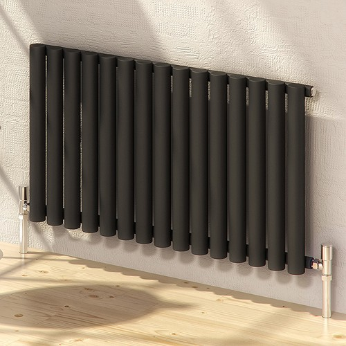 Additional image for Sena Horizontal Radiator (Black). 595x550mm.