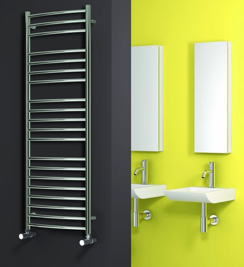 Additional image for Eos Curved Towel Radiator (Stainless Steel). 1200x500.