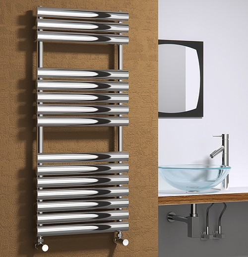 Additional image for Helin Towel Radiator (Stainless Steel). 826x500mm.