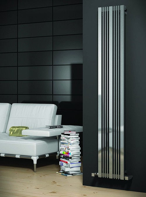 Additional image for Karia Vertical Radiator (Satin Stainless Steel). 430x1800.