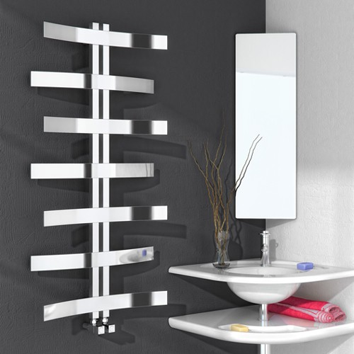 Additional image for Lioni Towel Radiator (Stainless Steel). 1200x600mm.