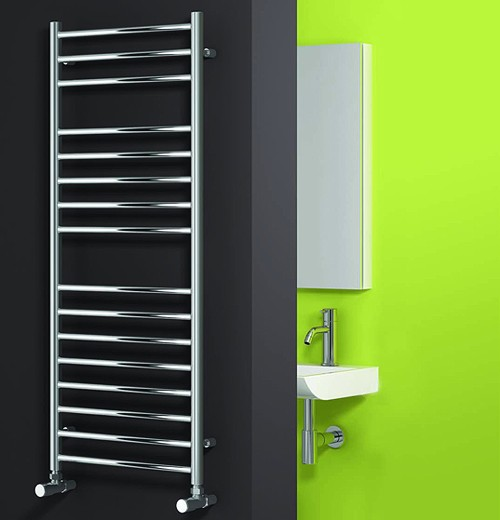 Additional image for Luna Flat Towel Radiator (Stainless Steel). 720x350mm.