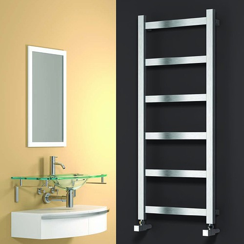 Additional image for Mina Towel Radiator (Satin Stainless Steel). 750x480.