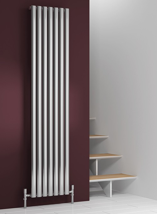 Additional image for Nerox Single Radiator (Polished Stainless Steel). 413x1800.