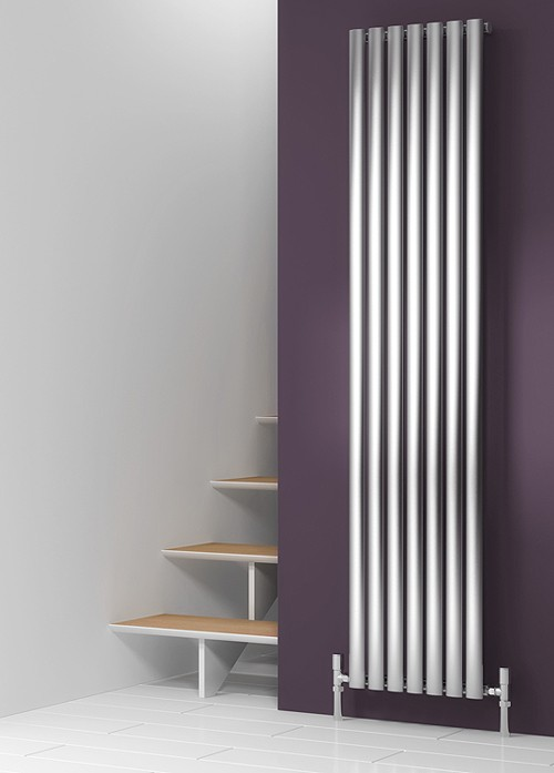 Additional image for Nerox Single Vertical Radiator (Brushed Steel). 413x1800.