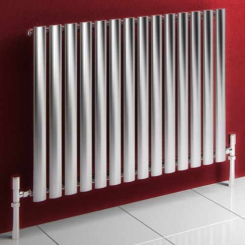 Additional image for Nerox Single Radiator (Brushed Steel). 590x600mm.