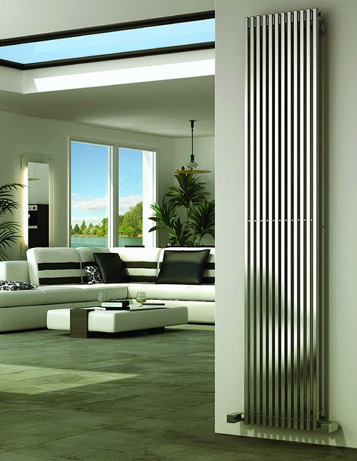Additional image for Odin Vertical Radiator (Satin Stainless Steel). 470x2000.