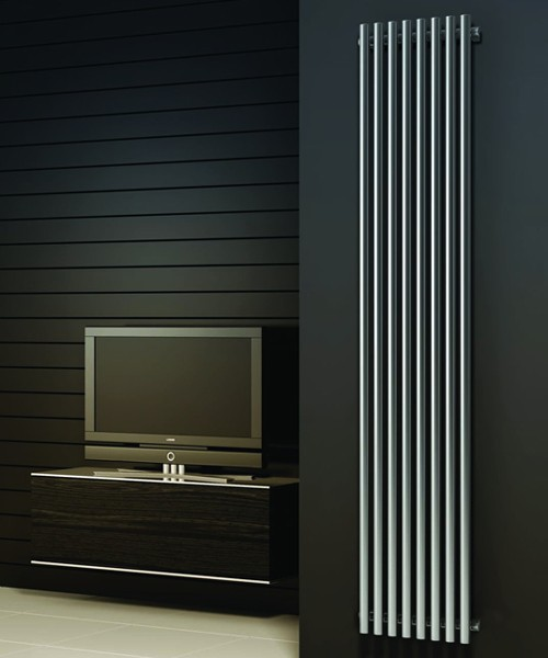 Additional image for Orthia Vertical Radiator (Satin Stainless Steel). 1800x390.