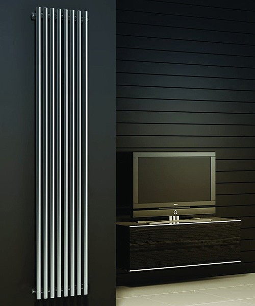 Additional image for Orthia Vertical Radiator (Polished Stainless Steel). 1800x390.