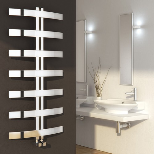 Additional image for Riesi Towel Radiator (Stainless Steel). 1200x600mm.