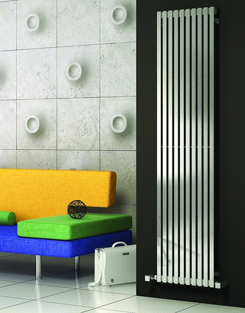 Additional image for Xeina Vertical Radiator (Satin Stainless Steel). 417x2000.