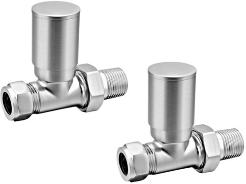 Additional image for Portland Straight Radiator Valves (Brushed).