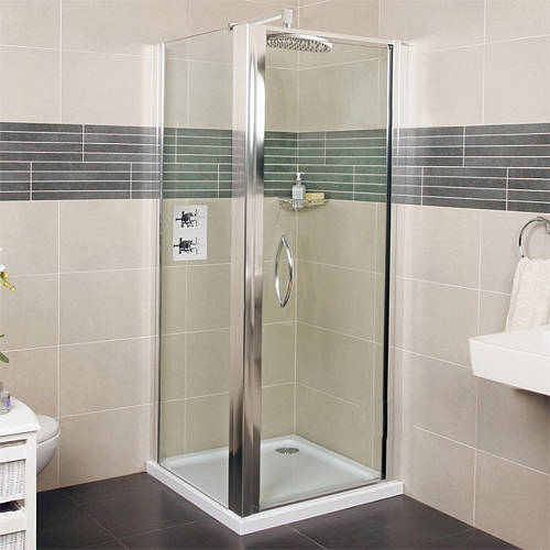 Additional image for Shower Enclosure With Pivot Door (700x700mm, Silver).
