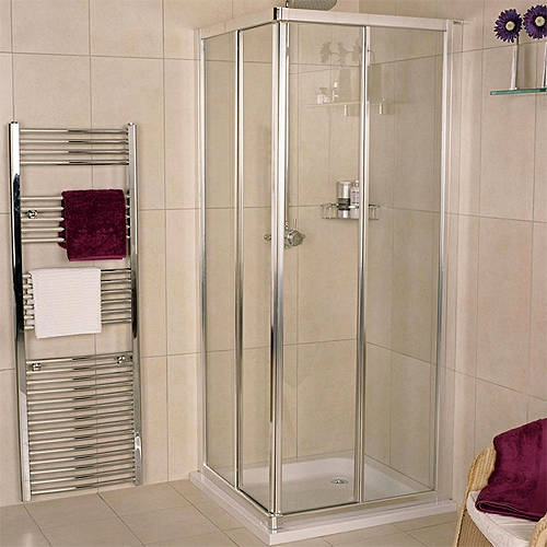 Additional image for Corner Entry Shower Enclosure (900x900mm, Silver).