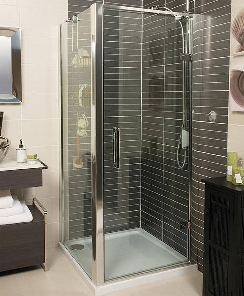 Additional image for Shower Enclosure With Hinged Door (900x900mm, Silver).
