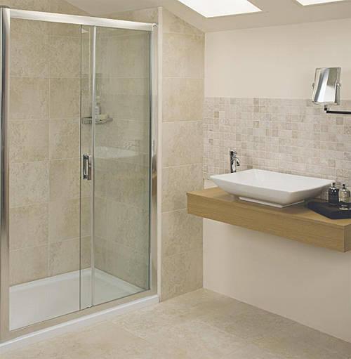 Additional image for Sliding Shower Door (1000mm, Silver Frame).