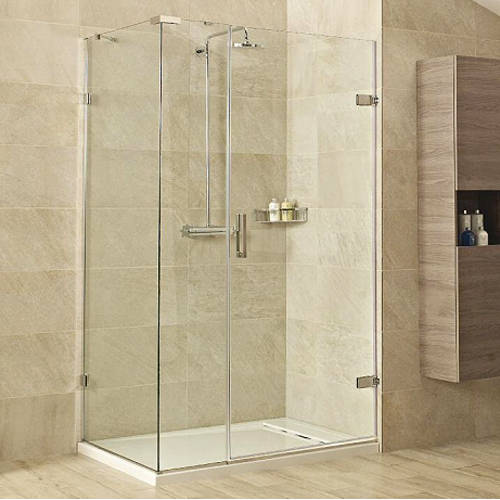 Additional image for Shower Enclosure With Hinged Door (1000x800, Nickel).