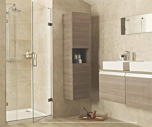 Additional image for Hinged Shower Door With One In-Line Panel (1200, Chrome).
