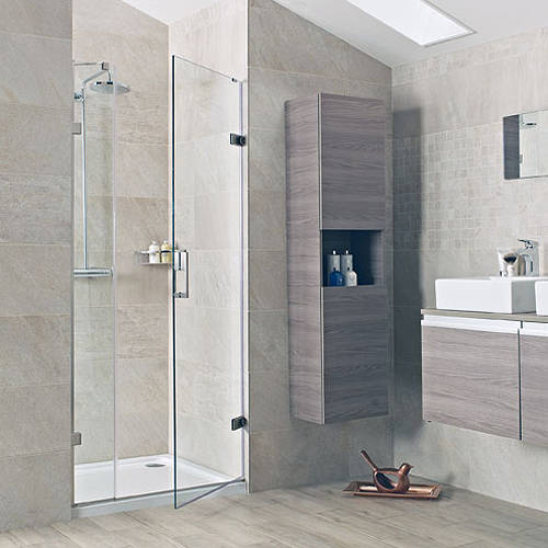 Hinged Shower Door With One In Line Panel 1200 Nickel