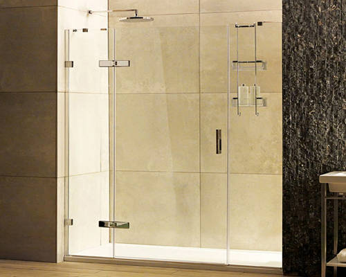Additional image for Hinged Shower Door With Two In-Line Panels (1600, Chrome).