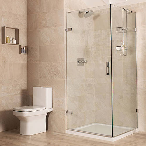 Additional image for Frameless Shower Enclosure With Hinged Door (900x1000mm).