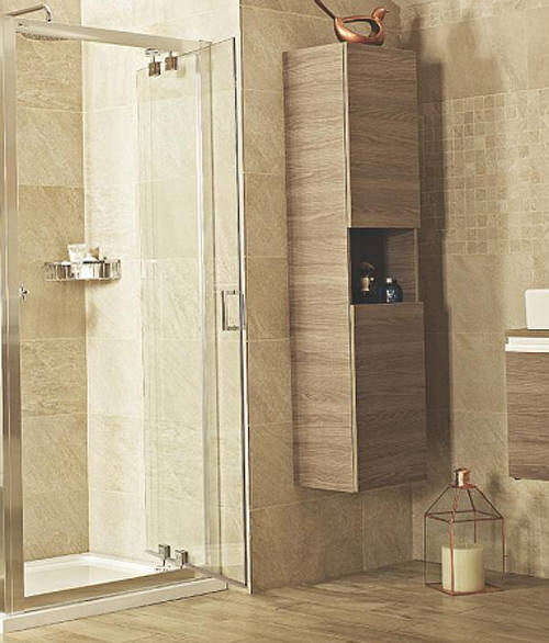Inswing Shower Door (800mm, Silver Frame). Roman Lumin8 RO-V8K813S