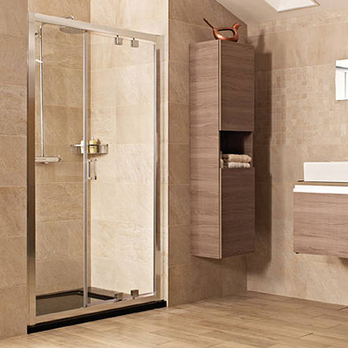 Inswing Shower Door 1200mm Silver Frame Roman Lumin8