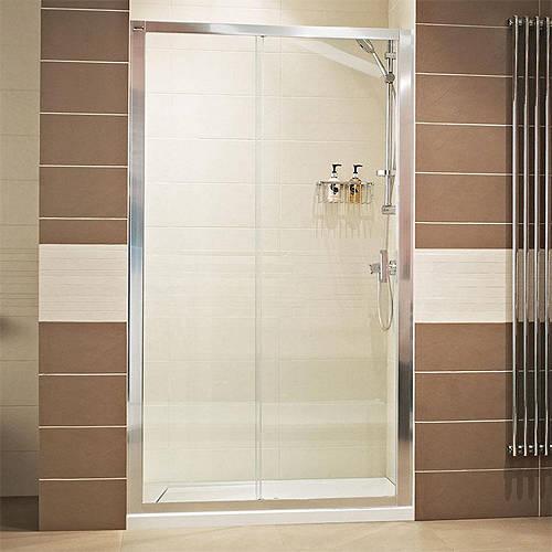 Additional image for Sliding Shower Door (1400mm, Silver Frame).