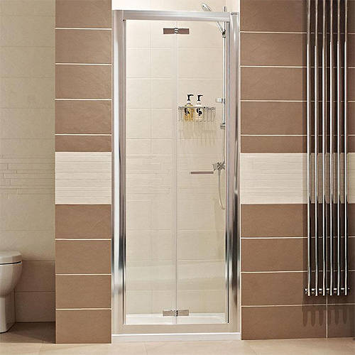 Bi Fold Shower Door 900mm Silver Frame Roman Lumin8 Ro