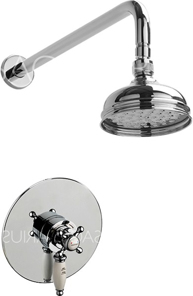 Additional image for Butler Shower Valve With Arm & 130mm Head (Chrome).
