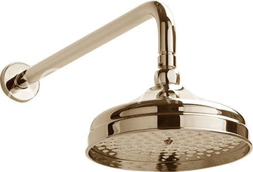 Additional image for York Traditional Shower Head With Arm (200mm, Gold).