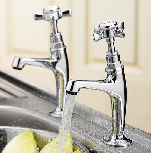 Additional image for Imperial High Neck Pillar Taps (Chrome, Pair).