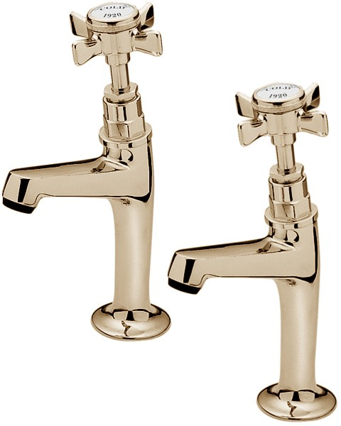 Additional image for Imperial High Neck Pillar Taps (Gold, Pair).
