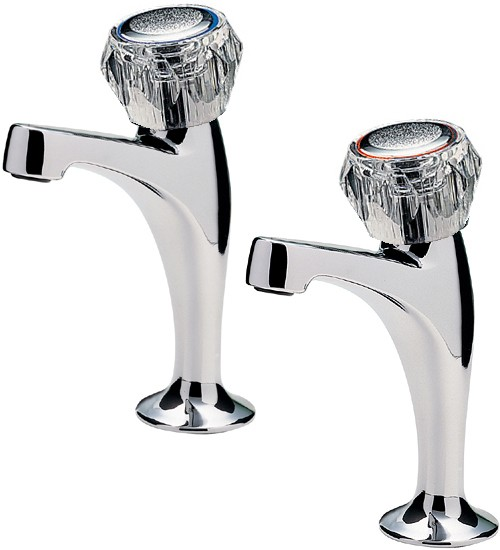 Additional image for Capri High Neck Kitchen Taps With Clear Heads (Chrome).