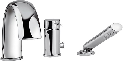 Additional image for 3 Hole Bath Shower Mixer Tap With Shower Kit (Chrome).
