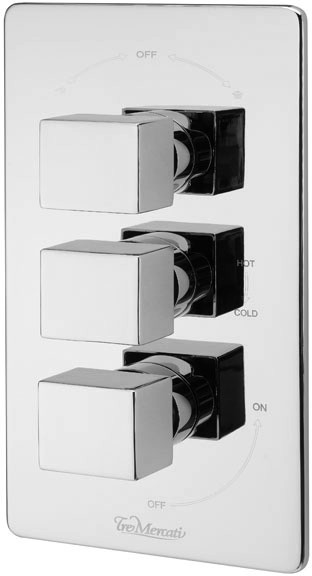 thermostatic 3 way shower valve chrome tre mercati geysir tm 83053. Black Bedroom Furniture Sets. Home Design Ideas