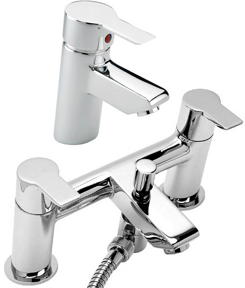 Additional image for Bath Shower Mixer & Basin Tap Set (Chrome).