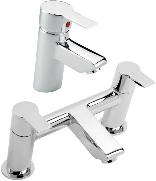 Additional image for Bath Filler & Basin Tap Set (Chrome).
