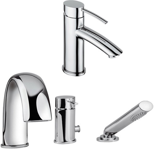 Additional image for 3 Hole Bath Shower Mixer & Basin Tap Set (Chrome).