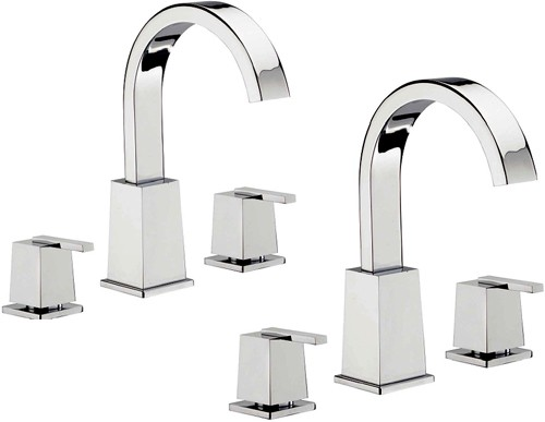 Additional image for 3 Hole Basin & 3 Hole Bath Filler Tap Set (Chrome).