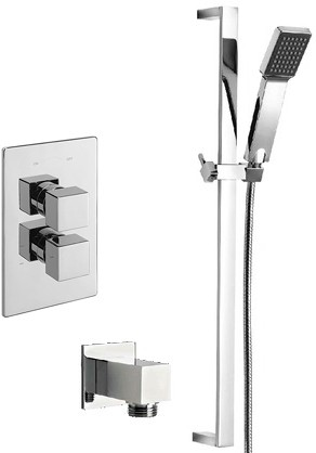 Additional image for Twin Thermostatic Shower Valve With Slide Rail & Wall Outlet.